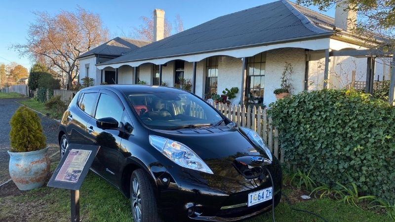 Nissan Leaf charges overnight at guest house